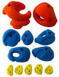 Red Blue and Yellow Climbing Holds