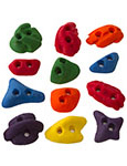 multiple colors of climbing holds